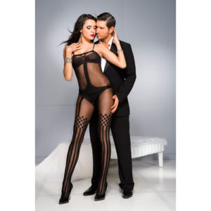 Music Legs - Crotchless Bodystocking With Stockings Design