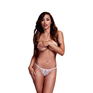 Baci Lingerie Baci - White Lace Up Panty Pink Ribbon XL